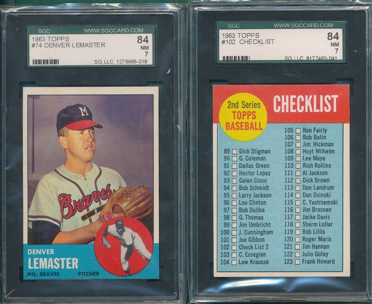 1963 Topps Lot of (6) W/ #73 Bragen SGC 84