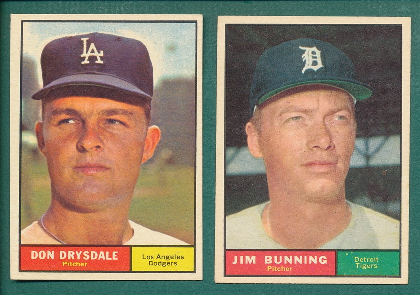 1961 Topps #260 Drysdale & #490 Bunning, Lot of (2)