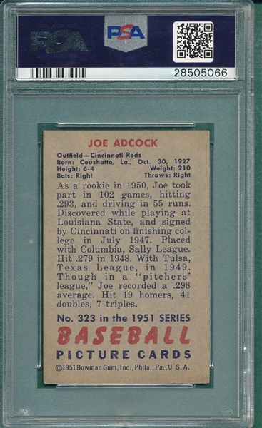 1951 Bowman #323 Joe Adcock PSA 8 *SP* *Rookie*