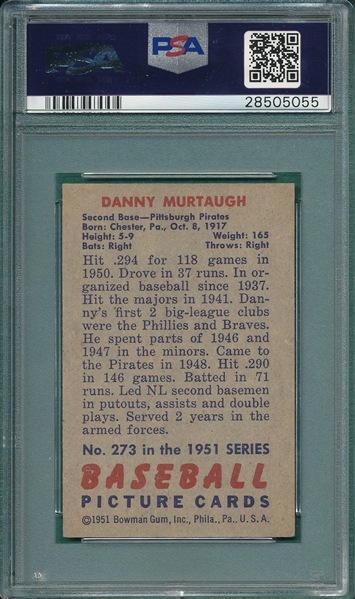 1951 Bowman #273 Danny Murtaugh PSA 8 *SP*