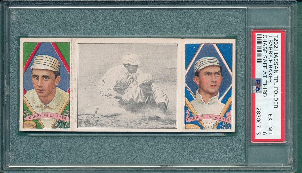 1912 T202 Chase Safe At Third, Barry/Baker, Hassan Cigarettes, PSA 6 *Only 4 Graded Higher*