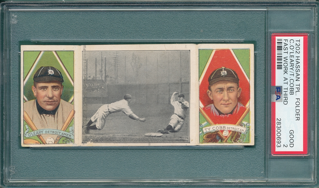 1912 T202 Fast Work At Third, O'Leary/Ty Cobb, Hassan Cigarettes, PSA 2
