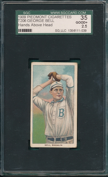 1909-1911 T206 Bell, Hands Above Head, Piedmont Cigarettes SGC 35