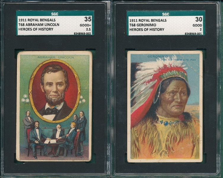 1911 T68 Geronimo & Lincoln, Royal Bengals Cigarettes, Lot of (2) SGC