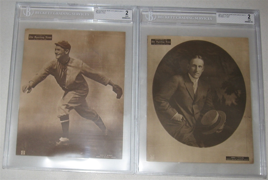 1909-13 M101-2 Taylor & Wheat, Sporting News Supplement, Lot of (2), BVG 2 *Presents Much Better*