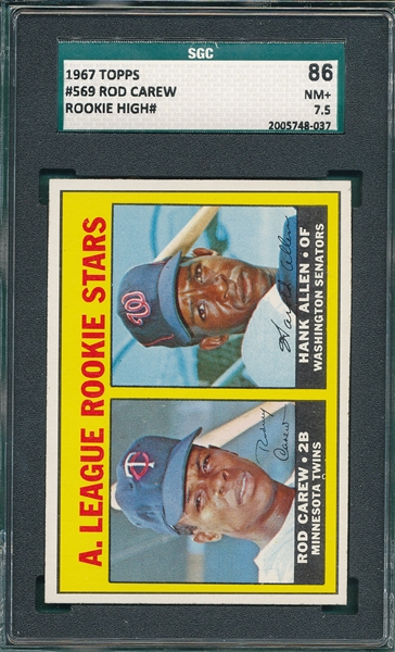 1967 Topps #569 Rod Carew, Rookie, SGC 86 *High#*