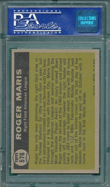 1961 Topps #576 Roger Maris, AS, PSA 8 *Hi #*
