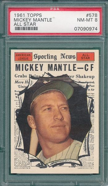 1961 Topps #578 Mickey Mantle, AS, PSA 8 *Hi #*
