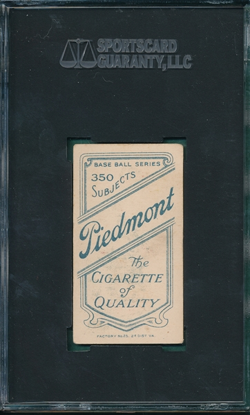 1909-1911 T206 Huggins, Hands At Mouth, Piedmont Cigarettes SGC 55