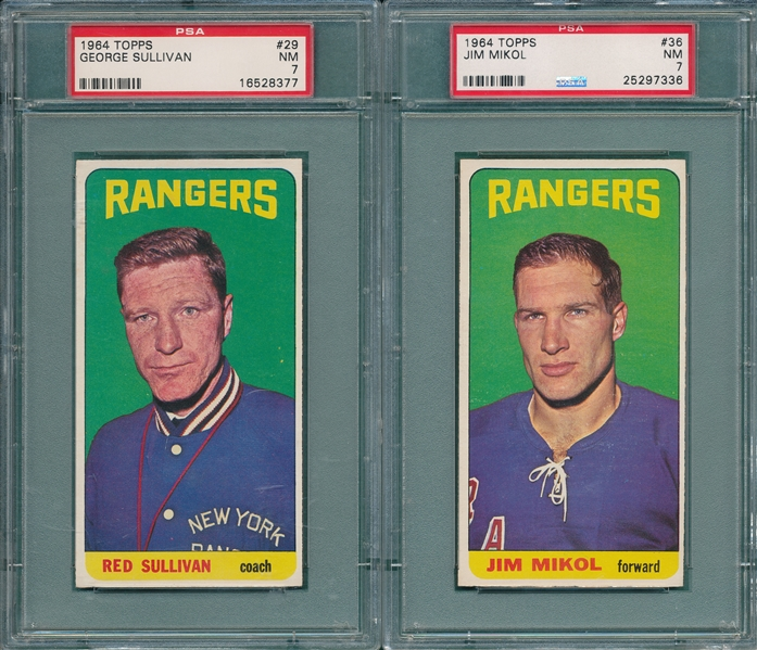 1964-65 Topps HCKY #29 Sullivan & #36 Mikol, Lot of (2) PSA 7
