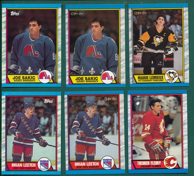 1989-90 O-Pee-Chee & Topps Hockey Complete Sets Lot of (2) W/ Leetch, Fleury & Sakic, Rookies