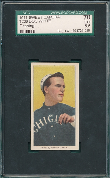1909-1911 T206 White, Doc, Pitching, Sweet Caporal Cigarettes SGC 70