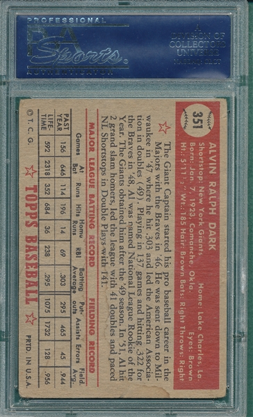 1952 Topps #351 Al Dark, Signed, PSA/DNA Certified *Hi #*