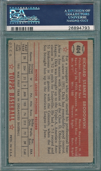 1952 Topps #404 Dick Brodowski, Signed, PSA/DNA Certified *Hi #*