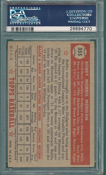 1952 Topps #355 Bobby Morgan, Signed, PSA/DNA Certified *Hi #*