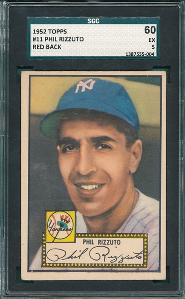 1952 Topps #11 Phil Rizzuto SGC 60 *Red Back*