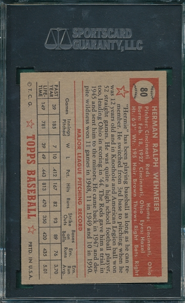 1952 Topps #80 Herman Wehmeier SGC 60 *Red Back*