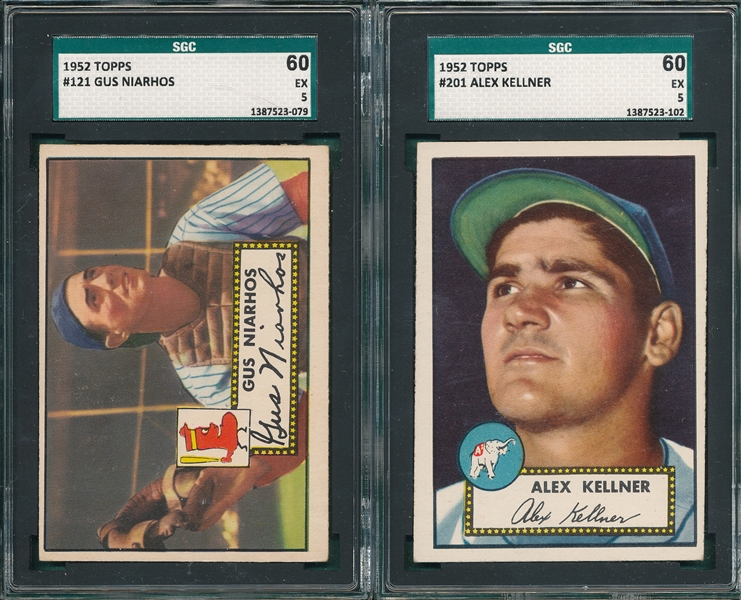 1952 Topps #121 Niarhos & #201 Kellner, Lot of (2), SGC 60