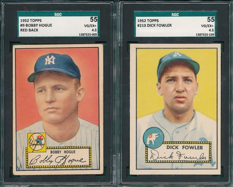 1952 Topps #9 Hogue, Red, & #210 Fowler, Lot of (2) SGC 55