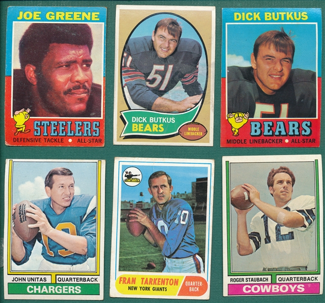 1968-76 Topps FB Lot of (530) W/ Unitas, Butkus, Joe Greene, Rookie & More
