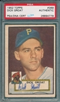 1952 Topps #369 Dick Groat, Signed, PSA/DNA Certified *Hi #* *Rookie*
