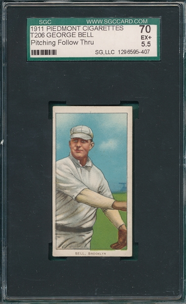 1909-1911 T206 Bell, Pitching, Piedmont Cigarettes SGC 70