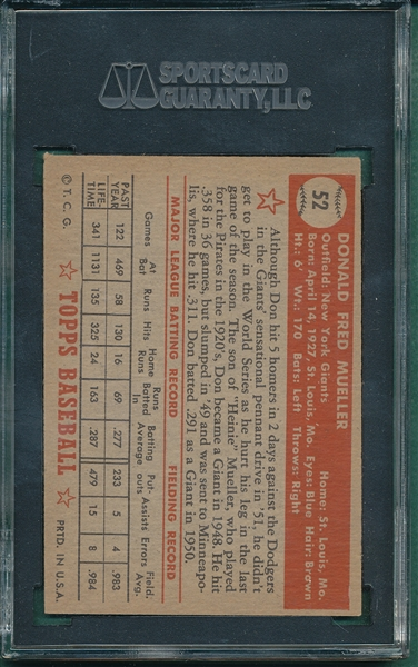 1952 Topps #52 Don Mueller SGC 60 *Red Back*