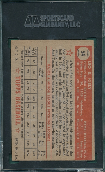 1952 Topps #54 Leo Kiely SGC 60 *Red Back*