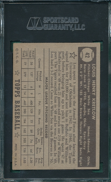 1952 Topps #42 Lou Kretlow SGC 60 *Black Back*