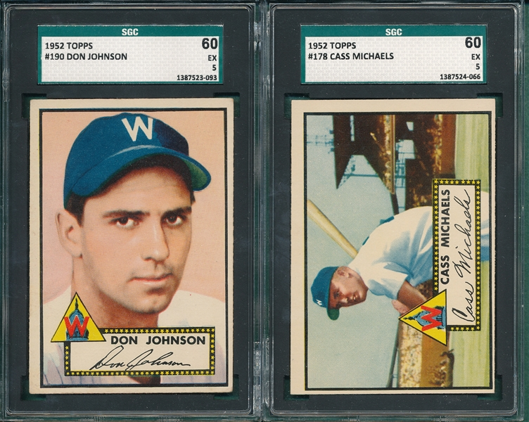 1952 Topps #178 Michaels & #190 Johnson, Lot of (2) SGC 60