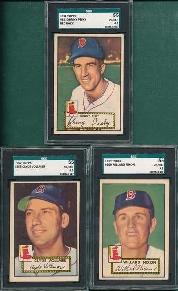 1952 Topps #15 Pesky, #255 Vollmer & #269 Nixon, Lot of (3) SGC 55