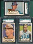 1952 Topps #058 Mahoney, #110 Leonard & #134 Tipton, Lot of (3) SGC 45
