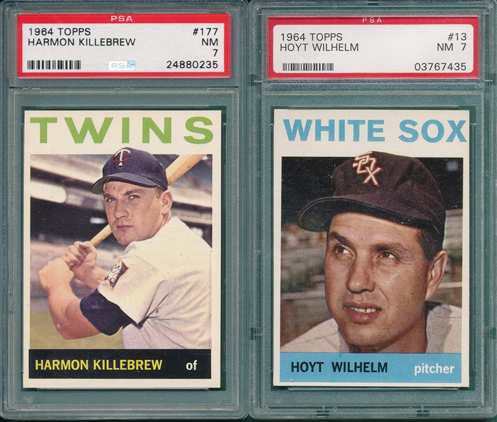 1964 Topps #13 Wilhelm & #177 Killebrew, Lot of (2) PSA 7