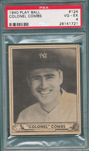 1940 Play Ball #124 Earl Combs PSA 4