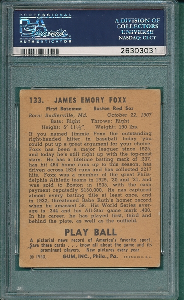 1940 Play Ball #133 Jimmie Foxx PSA 4