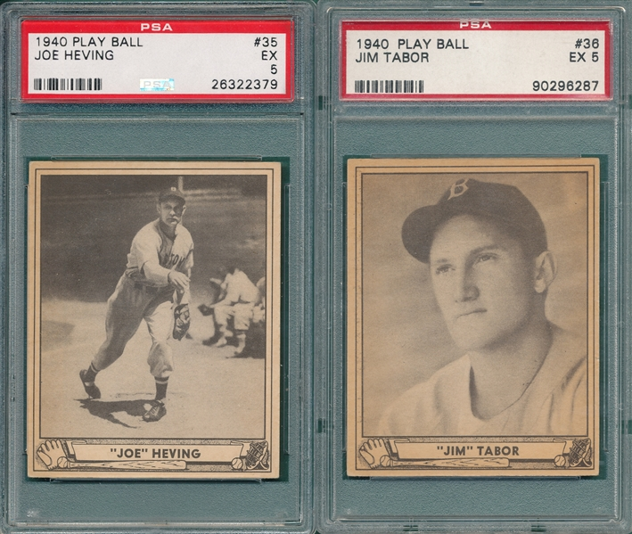 1940 Play Ball #35 Heving & #36 Tabor, Lot of (2) PSA 5