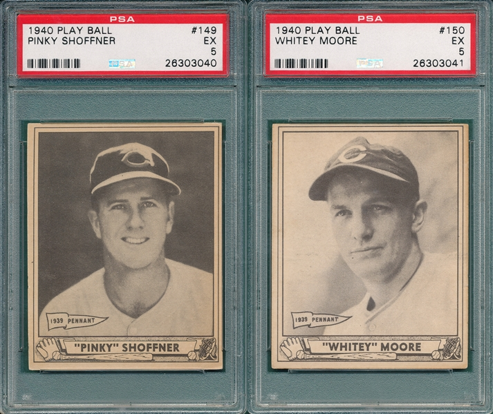 1940 Play Ball #150 Moore & #149 Shoffner, Lot of (2) PSA 5