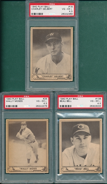 1940 Play Ball #18 Gelbert, #26 Moses & #138 Bell, Lot of (3) PSA