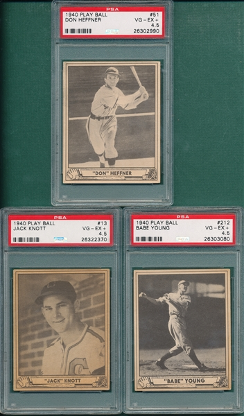1940 Play Ball #13 Knott, #51 Hefner & 212 Young, Lot of (3) PSA