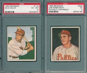 1950 Bowman #119 Sisler & #226 Konstanty, no copyright, Lot of (2) PSA 6