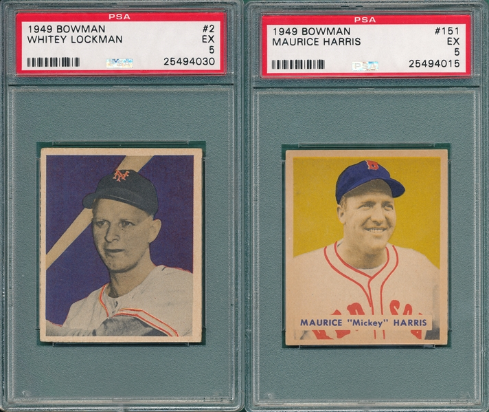 1949 Bowman #2 Lockman & #151 Harris, Hi #, Lot of (2), PSA 5