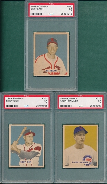 1949 Bowman #190 Hearn, #201 Sisti & #212 Hamner, Lot of (3) PSA 5 *Hi#s*
