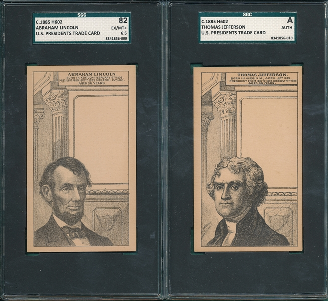 1885 H602 US Presidents Jefferson & Lincoln, Lot of (2) SGC