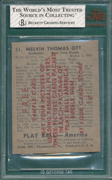 1939 Play Ball #51 Mel Ott BVG 4 *Salesman's Sample*