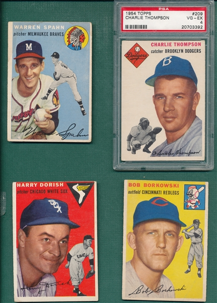 1954 Topps Lot of (4) W/ Spahn