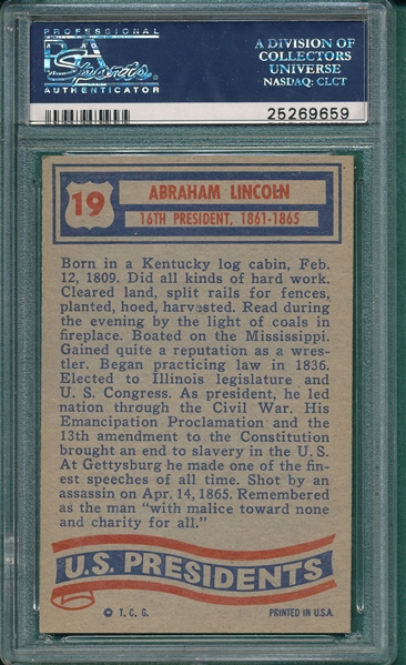1956 Topps US Presidents #19 Abraham Lincoln PSA 7