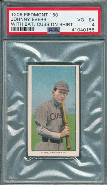 1909-1911 T206 Evers, Cubs On Shirt, Piedmont Cigarettes PSA 4