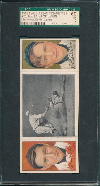 1912 T202 Too Late For Devlin, Devlin, Giants/Mathewson SGC 60