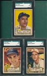 1952 Topps #98 Pierce, #99 Woodling & #102 Kennedy, Lot of (3) SGC
