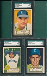 1952 Topps #50 Rickert, Red, #95 Holcombe & #211 Coleman, Lot of (3) SGC 55